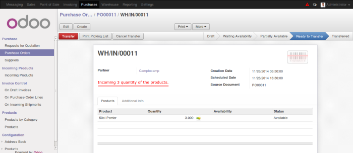 Odoo Incoming Products