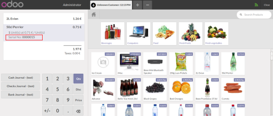 Products added in pos list