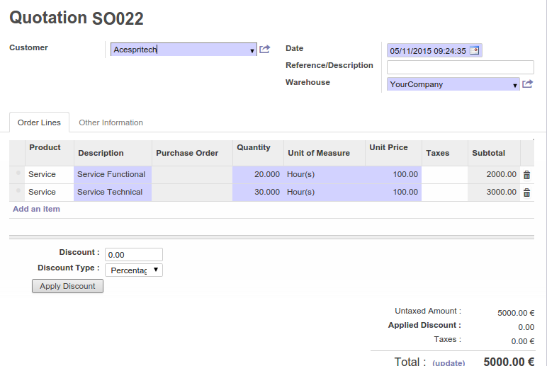 Odoo Sale Order  Invoice Sale