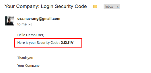 Security code by mail