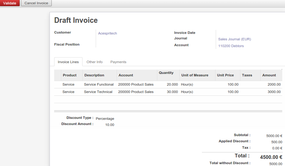 Draft Invoice From Sale Order  Invoice Sale
