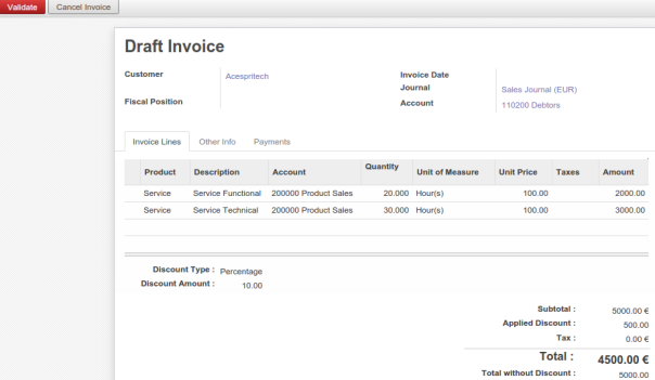 Draft Invoice from Sale Order