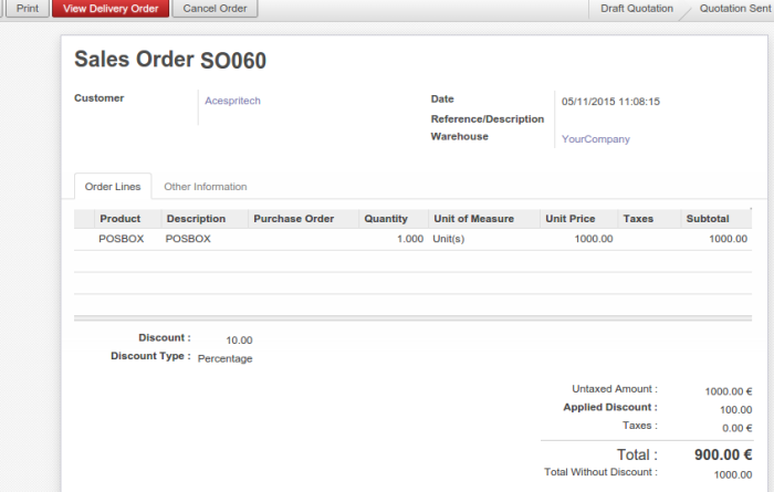 Sale Order with Invoice after Delivery Order