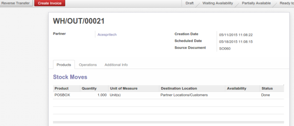 Odoo Delivery Order