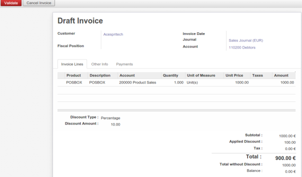 Invoice created from Delivery Order