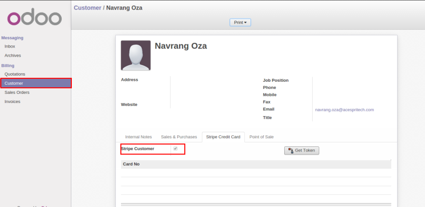 Odoo portal customer
