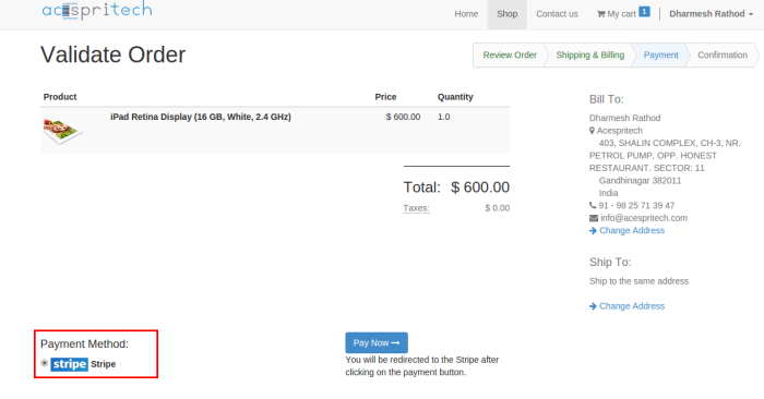 Odoo website order