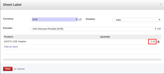 Odoo Product Form
