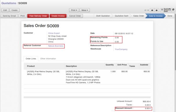 Referral Sale Order