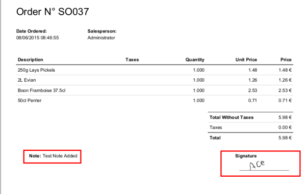 Odoo Sales report with signature from POS