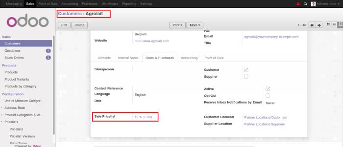 Assign pricelist to customer