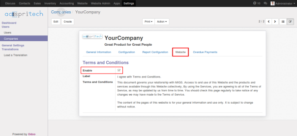 Odoo 9 website terms and conditions configuration