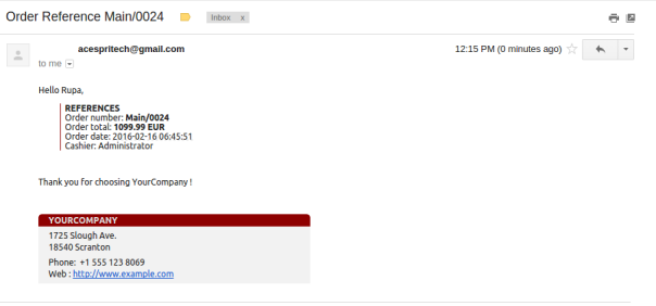Sent mail from Odoo POS