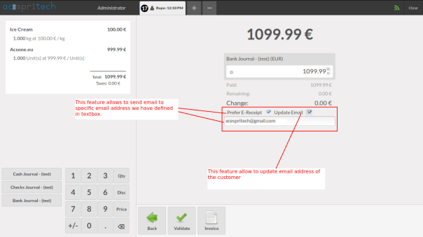 Allow to send e-receipt from POS