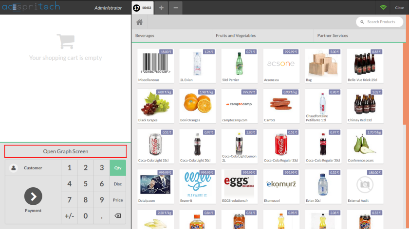 Odoo pos main screen