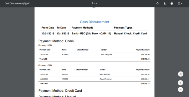 Cash Disbursement Report