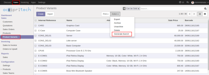 Odoo Dropdown Menu