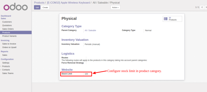 Configure Product In Category
