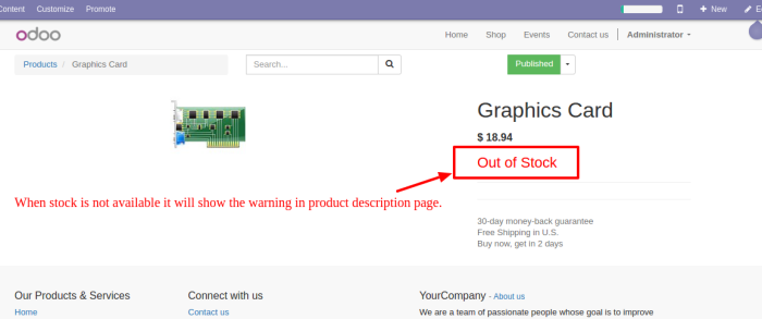 Warning Product Description In Page