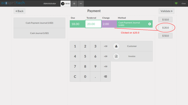 Odoo Point of Sale Quick Cash Button