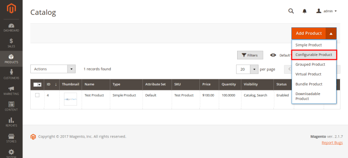 Catalog Products Magento Admin