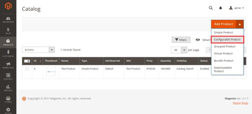 Catalog Products Magento Admin