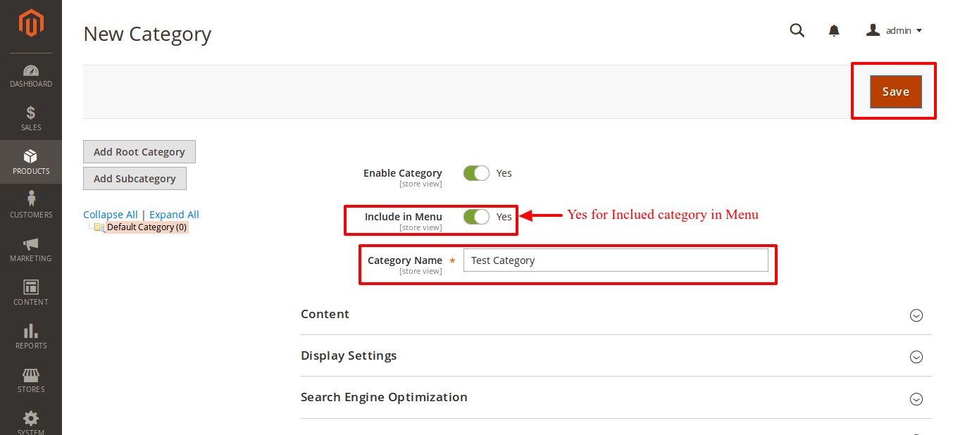 Magento Enable Category