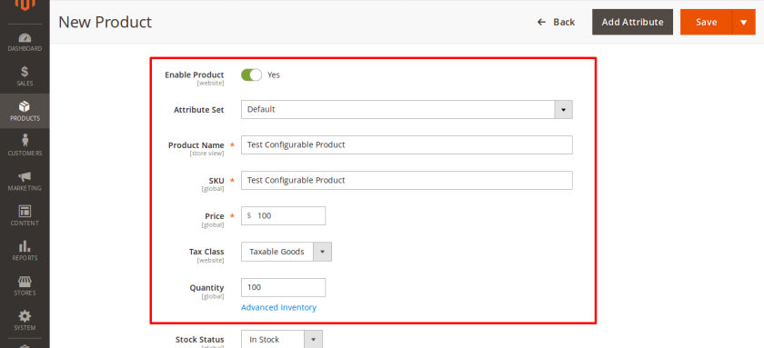 New Configurable Product fields
