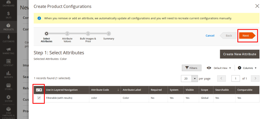 Select Attribute for configurable product
