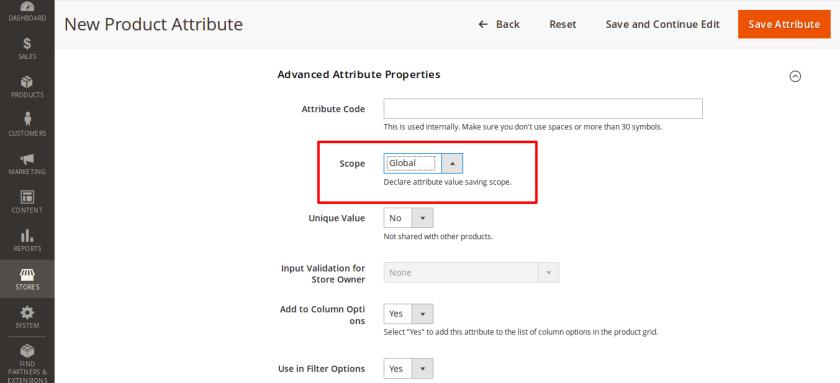 Select attribute scope