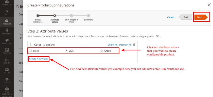 Select Attribute values for configurable product