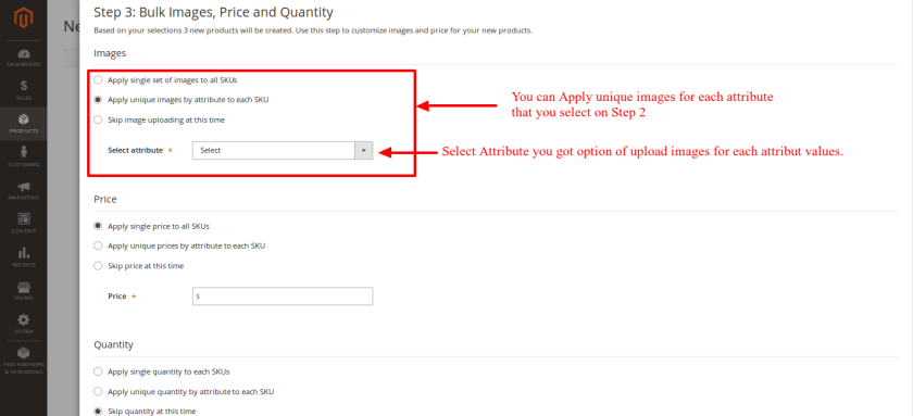 Select images price quantity for configurable product