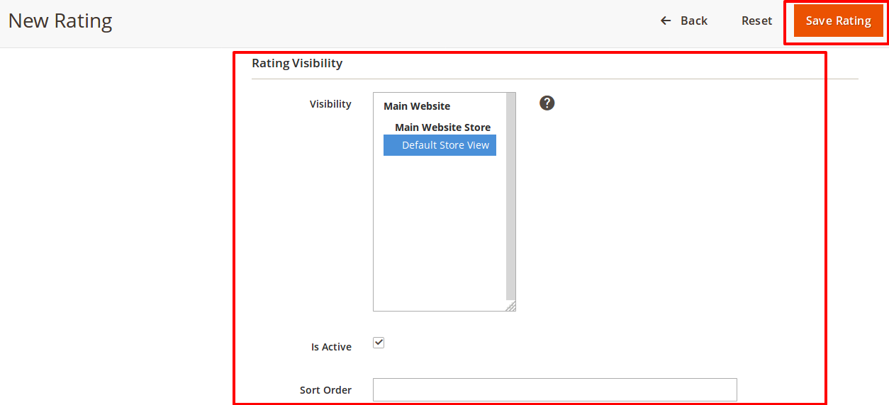 Select visibility and active checkbox