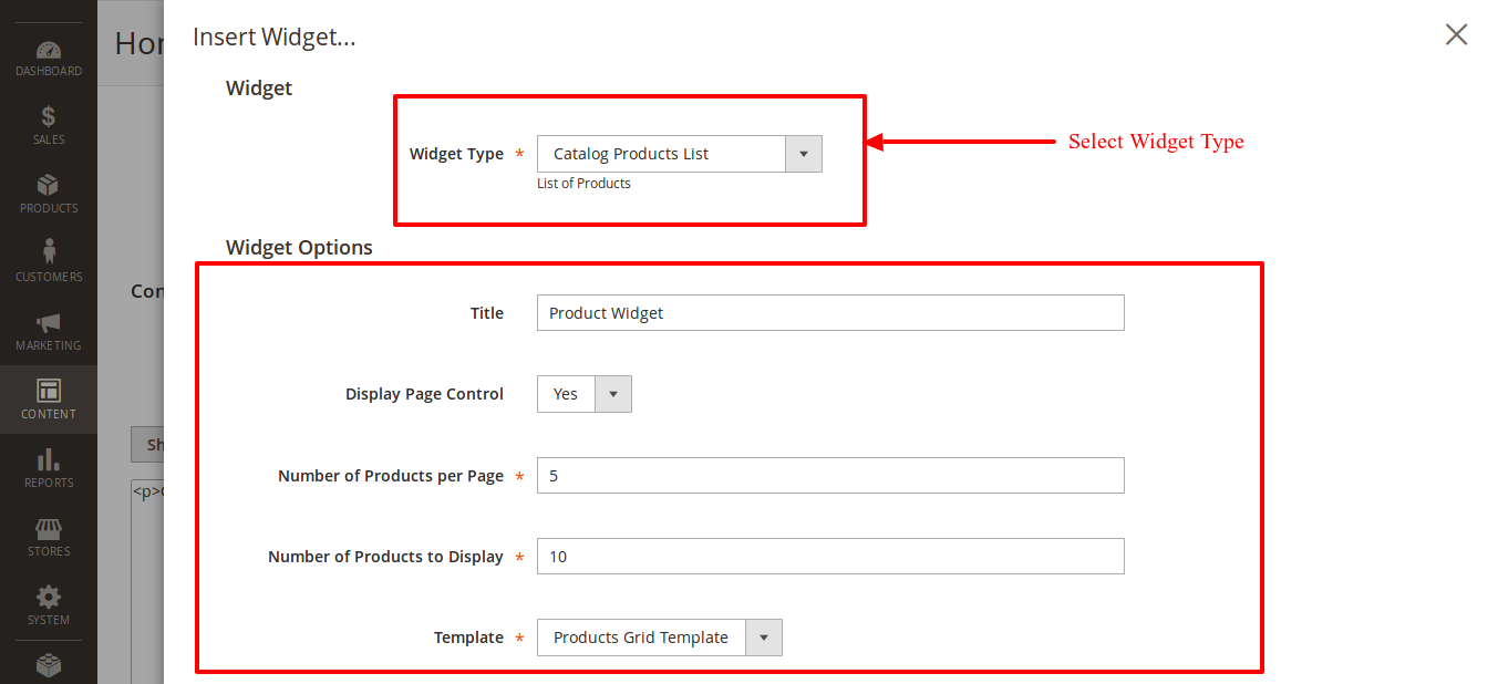 Select Widget Type and fill out details