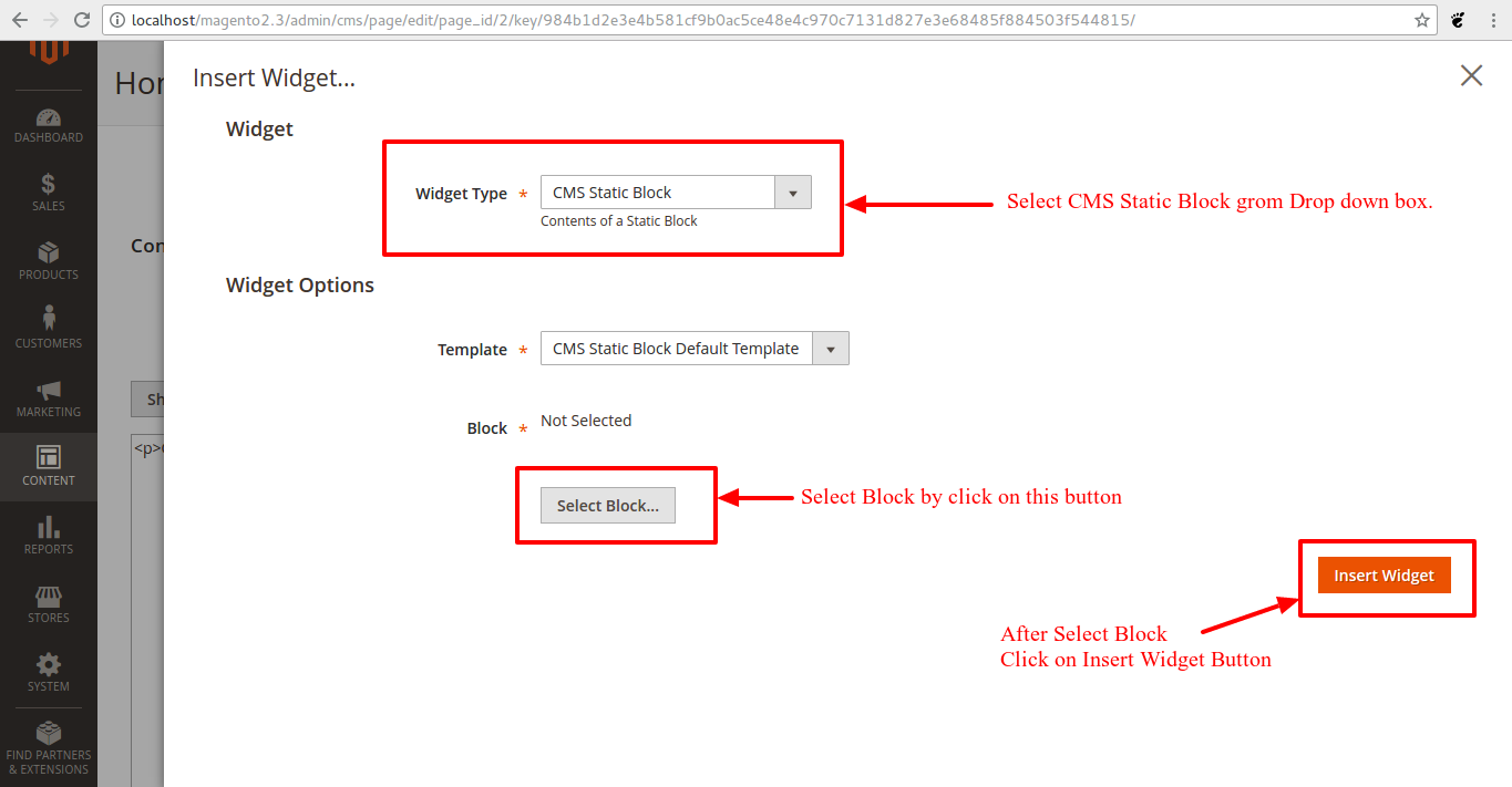 Select Widget Type and select Static Block