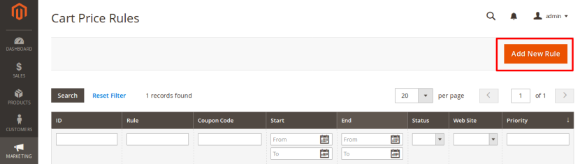 Add new Cart Price Rule From Magento Admin