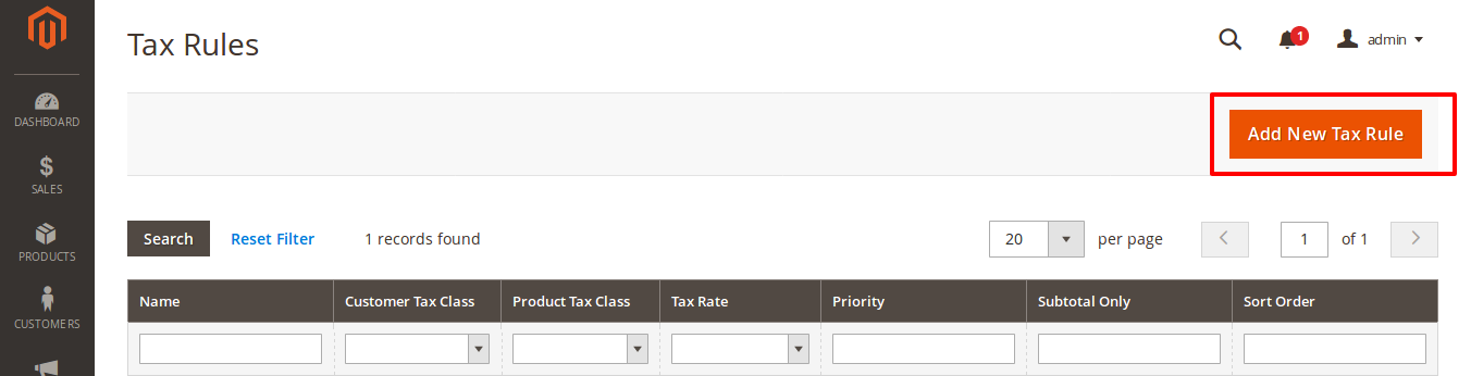 Add New Tax Rule Details