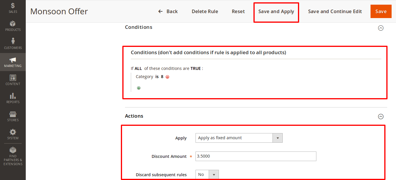 Catalog Price Rule configure condition and action