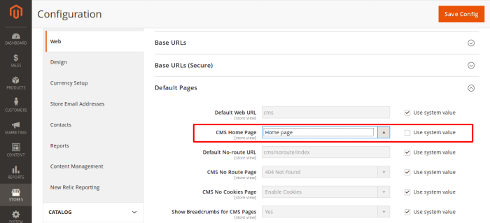 Change Cms Home page from drop down