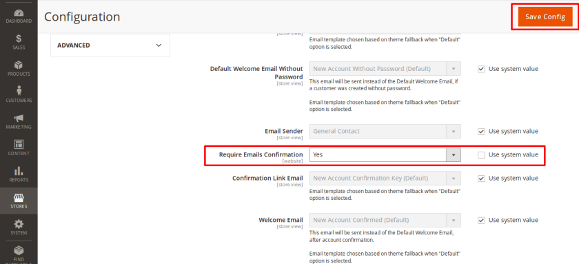 Enable Required Emails Confirmation for customers