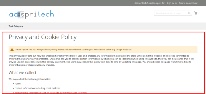 Home page Change to Privacy and Cookie Policy