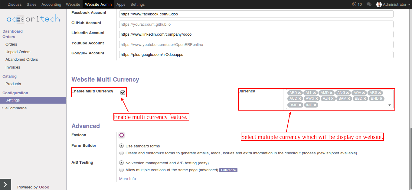 Odoo website multi currency configuration
