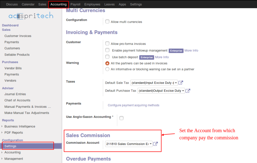 Odoo Commission Account