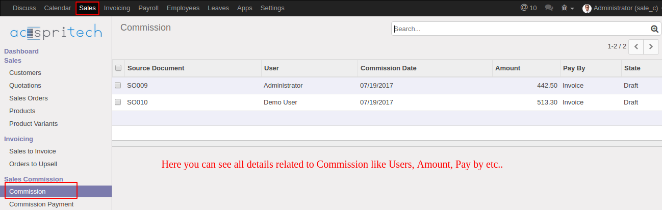 Odoo Commission Data