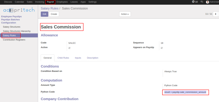 Odoo Commission Salary Rule