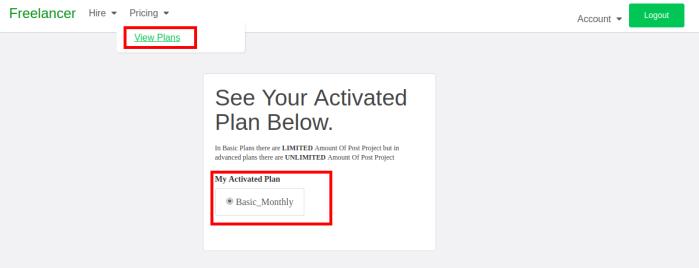 Active plan information