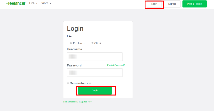 Django Client Login for Freelancer
