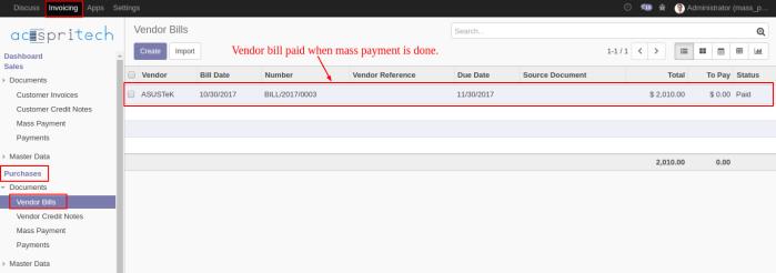 Vendor Bill Paid