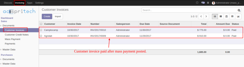 Mass Customer Invoice Paid