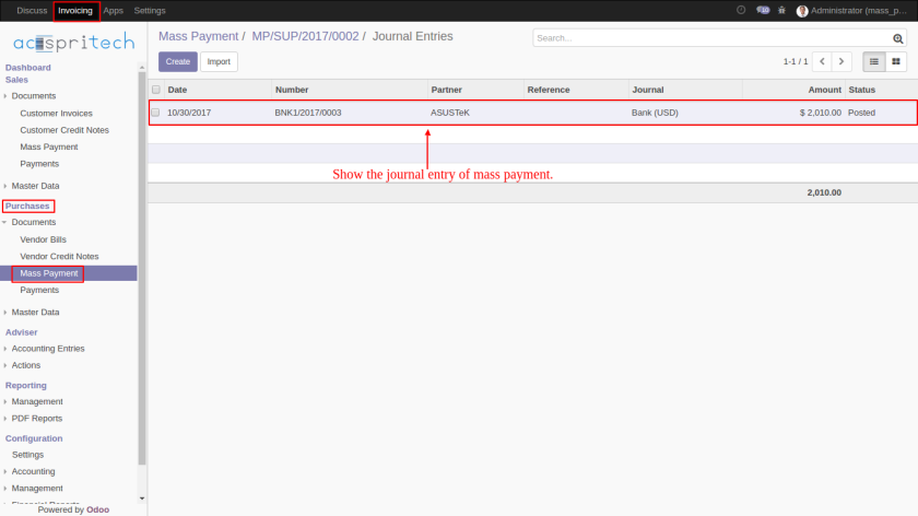 Vendor Mass Payment Journal